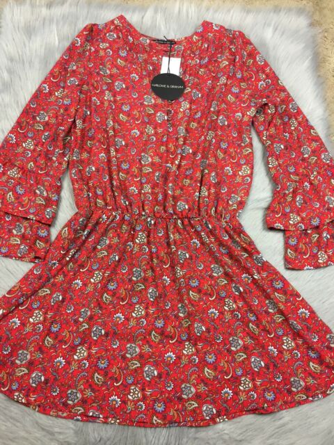 3175e6e2002 NWT Harlowe & Graham Red Paisley Floral Print Bell Sleeve Dress Sz M ...