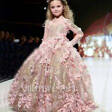 Pink Luxury Girl Dress Pageant Shinny Flower Girl Dress Applique Long Ball Gown