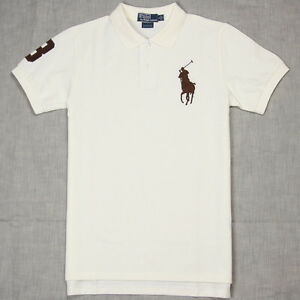 799e6bb577a1 New Polo Shirt Ralph Lauren Custom Fit Big Pony Men Cream White ...