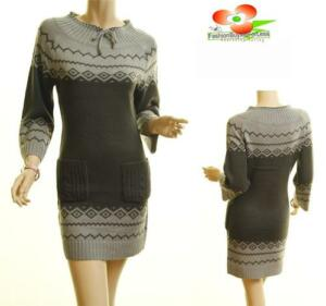 Women-Gray-3-4-Sleeve-Pullover-Ribbed-Hem-Stretchy-Knit-Sweater-Dress-Tunic-Top