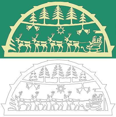 Schwibbogen-Vorlage: Weihnachtsmann mit Rentieren