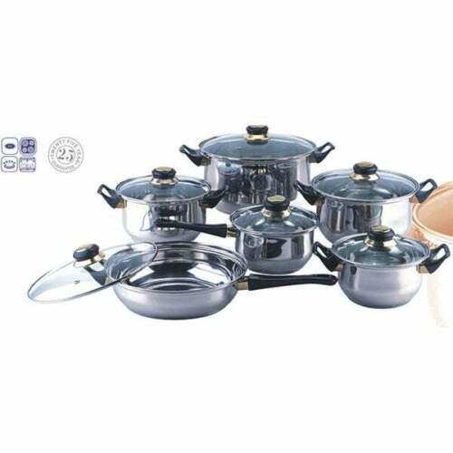 Juego Set De Ollas De Acero Inoxidable Bateria Cocina 12 Piezas Sarten Cacerolas