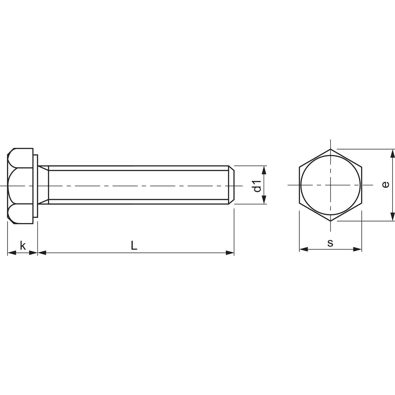 DIN 933 M10x 50 Messing Messing Messing blank Sechskantschraube ohne Schaft 25e685