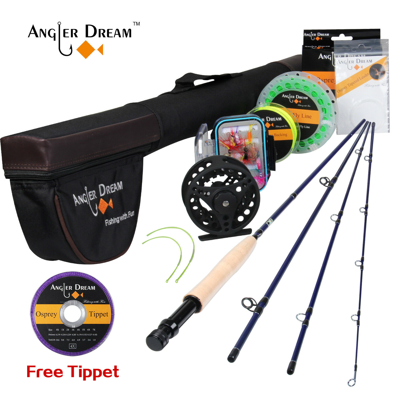 3 5WT Fly Rod Combo Carbon Fiber Fly Rod Large Arbor Fly Reel, Line,Free Tippet