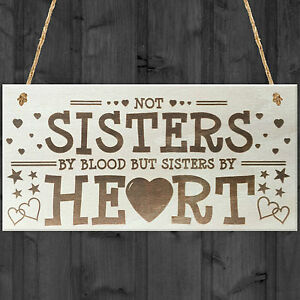 Sisters By Heart Shabby Chic Wooden Hanging Plaque Best Friends Gift