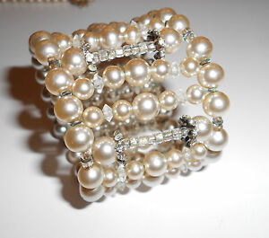 Amazing Rare Bracelet Signed Miriam Haskell Wide Pearl Cuff Crystals Rhinestones Art Nouveau Antiques