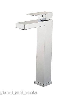 BATHROOM TALL HIGH MIXER TAP - SQUARE DESIGN - FOR BATHROOM BASIN VANITY