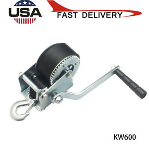 Hand-Winch-600Lbs-Hand-Crank-Strap-Gear-6M-Polyester-Strap-ATV-Boat-Trailer-US