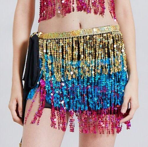 Belly Dance Hip Scarf Belt Waist Skirt Wrap Tassel Sequin Fringe Dance Costume