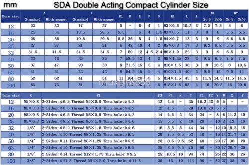 1PCS SDA20x20 Pneumatic SDA20-20mm Double Acting Compact AIR Cylinder