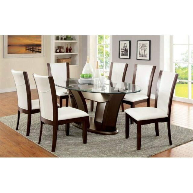 Furniture Of America Waverly 7 Piece Gl Top Dining Set In White