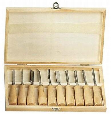 "HAWK TZ7410W - Hobby Wood Carving Chisel Set 10 Piece 5-3/8"" long w Storage Box"