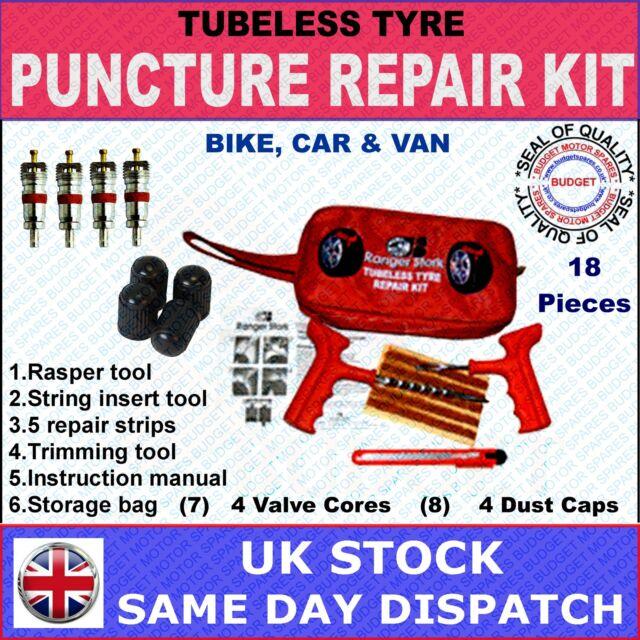 CAR, VAN, MOTORCYCLE TUBELESS TYRE PUNCTURE REPAIR KIT - 18 PIECES