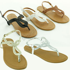 New-Womens-Braided-Gladiator-Flat-Sandal-T-strap-Thong-Flip-Flops-Style-all-size