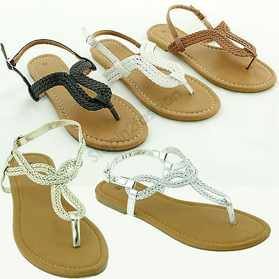 New Womens Braided Gladiator Flat Sandal T Strap Thong