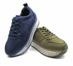 Sneakers-donna-scarpe-ginnastica-zeppa-platform-stringate-scamosciate