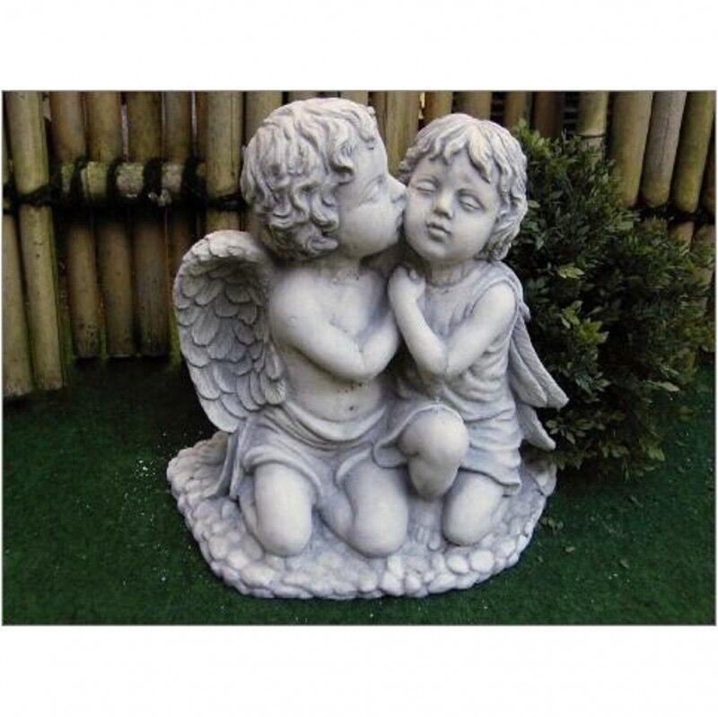 Ángel y elf grande escultura de piedra fundición piedra personaje Frost Festival piedra figura po-198