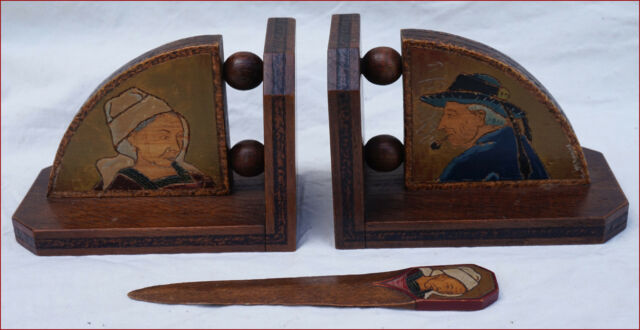 French Breton Pyrography Art Wooden Bookends Letter Opener Quimper