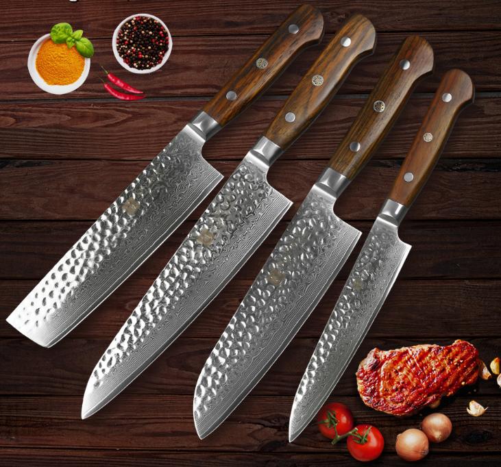 4Pcs Kitchen Knife Set 67 Layers Damascus Steel Chef Cleaver Utility Santoku Cut