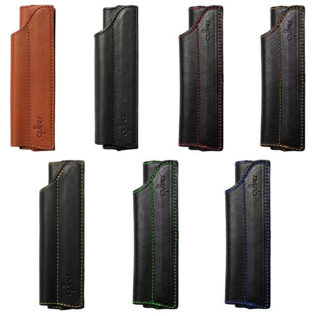 Quiver Single Pen Holder for Pocket A6 Moleskine Notebooks - Black Leather