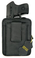 Black Leather Ccw Concealment Gun Pistol Holster Pack - Raven Arms Mp-25
