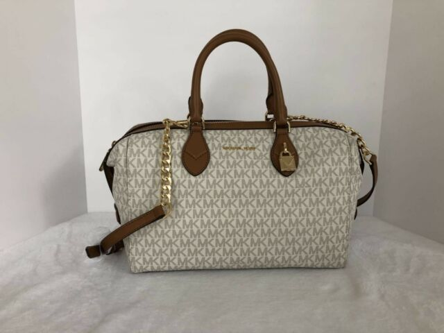 ebb7a0582af175 Michael Kors Vanilla Signature Grayson Large Convertible Satchel Purse
