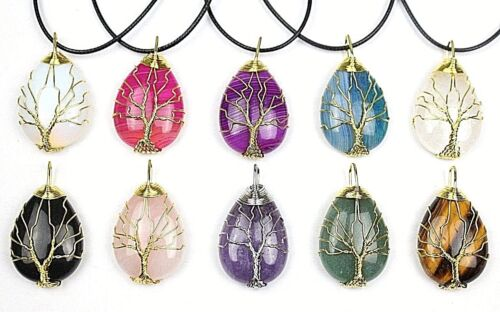 Large Bright Natural Stone Tree Of Life Gold Wire Necklace Pendant Wicca Chakra