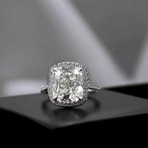 Certified-6-15Ct-White-Cushion-Diamond-14K-Gold-Engagement-amp-Wedding-Ring-Sets
