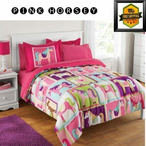 Pink Full Size Bedding Sets.Kids Coordinated Full Size Bed In A Bag Pink Horsey Girls Horse Bedding Set