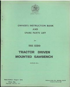 KIDD-MKI-MKII-TRACTOR-DRIVEN-MOUNTED-SAWBENCH-OPERATORS-MANUAL-AND-PARTS-LIST