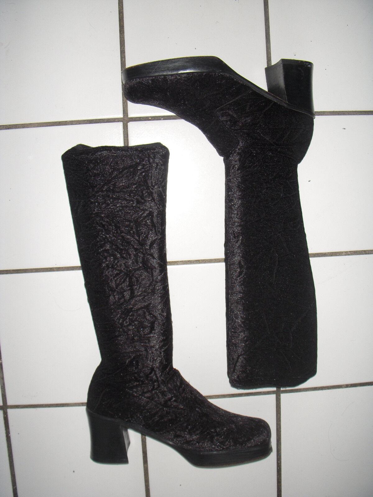 VTG Tall Black Platform VELVET stretch stretch stretch SOCK BOOTS goth Size 8.5 9 Leather Soles 0d5195