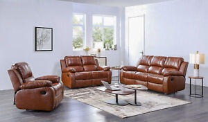 Leather Recliner Sofas Tan 3+2+1 Sofa Set Suite Soft Leather Manual Recliners