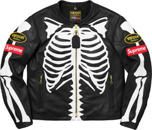 c1b5d8690cae NWT Supreme 2018 New Vanson Black Leather Skeleton Bones Motorcycle ...