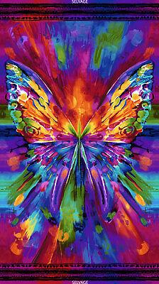 "Awaken Bright Butterfly Rainbow Digital Print Fabric 23/"" Panel  #CD6550"