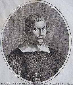 Strict Thadee Barberin, Prince De Palestrine, Portrait. Gravure Originale (1650). Acheter Un Donner Un