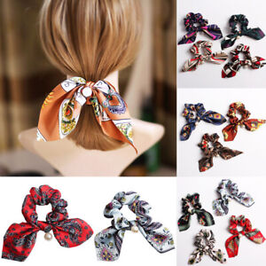 Ladies-Women-Girl-Bow-Knot-Hair-Rope-Ring-Tie-Scrunchie-Ponytail-Holder-Pearl-Sw