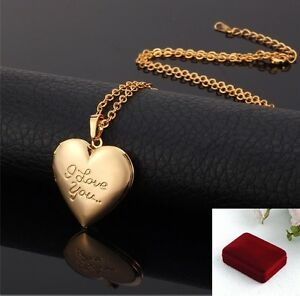 Mother's Day  BIRTHDAY GIFT GOLD PLATED HEART LOCKET PENDANT NECKLACE W BOX
