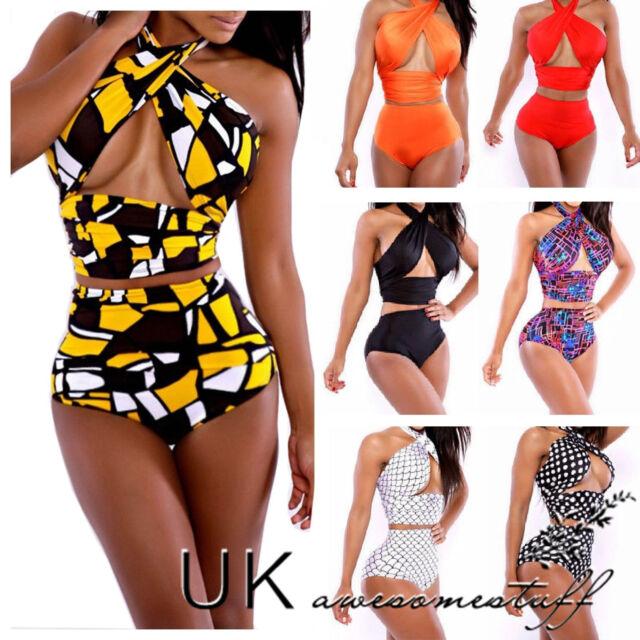 UK New Sexy Beach Womens Vintage High Waist Bikini Set Bandage Swimwear Swimsuit