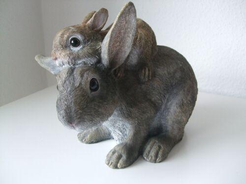 Osterhase Kaninchen Hasenmutter mit Kind Ostern Dekofigur