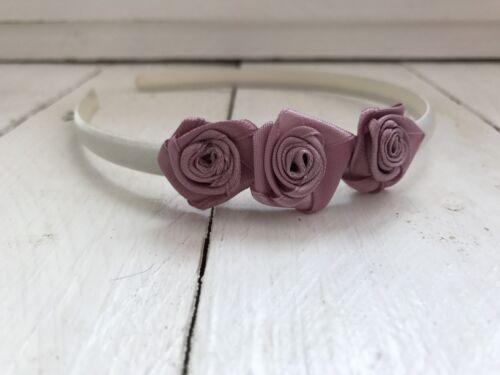 Ivory Satin Headband Hairband Dusky Pink Flowers Bridesmaid Flower Girl