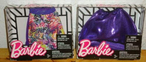 Lot of 2 Barbie Doll Fashion Separates Skirts Love /& Hearts and Metallic Purple