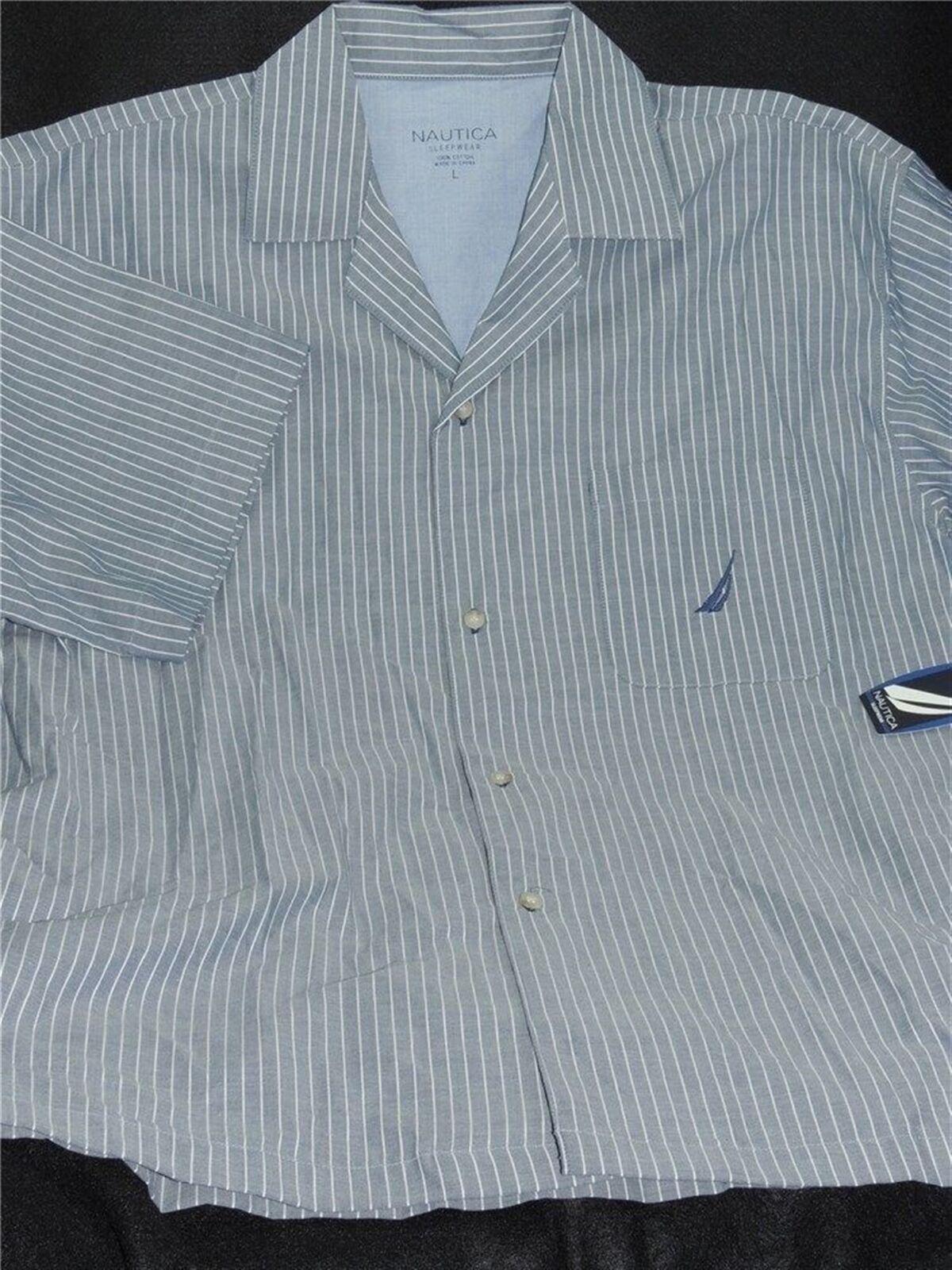 Nautica Men's Lounge Shirt Bay Spring Navy Short Sleeve 100% Cotton Sleepwear L