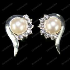 CLIP ON diamante CREAM PEARL&CRYSTAL elegant clips EARRINGS silver rhinestone