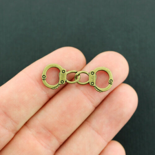 BC271 6 Handcuffs Charms Antique Bronze Tone 2 Sided