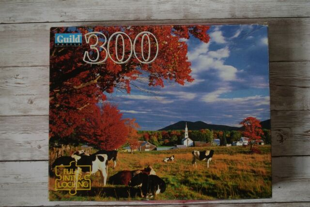 Guild 300 Piece 14x18 Jigsaw Puzzle Cows in a Pasture Tamworth NH