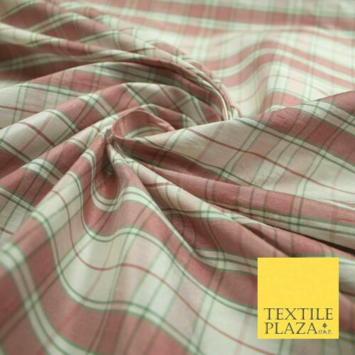 "Luxury Dusty Pink White Green Tartan Check Plaid 100/% PURE SILK Fabric 48/"" 4620"