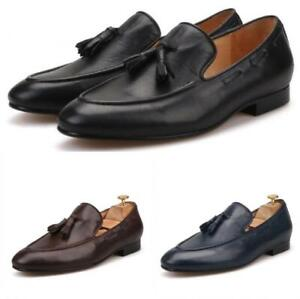 Mens-Real-Leather-Casual-Buisiness-Loafers-Slip-On-Gommino-Shoes-Hand-made-Point