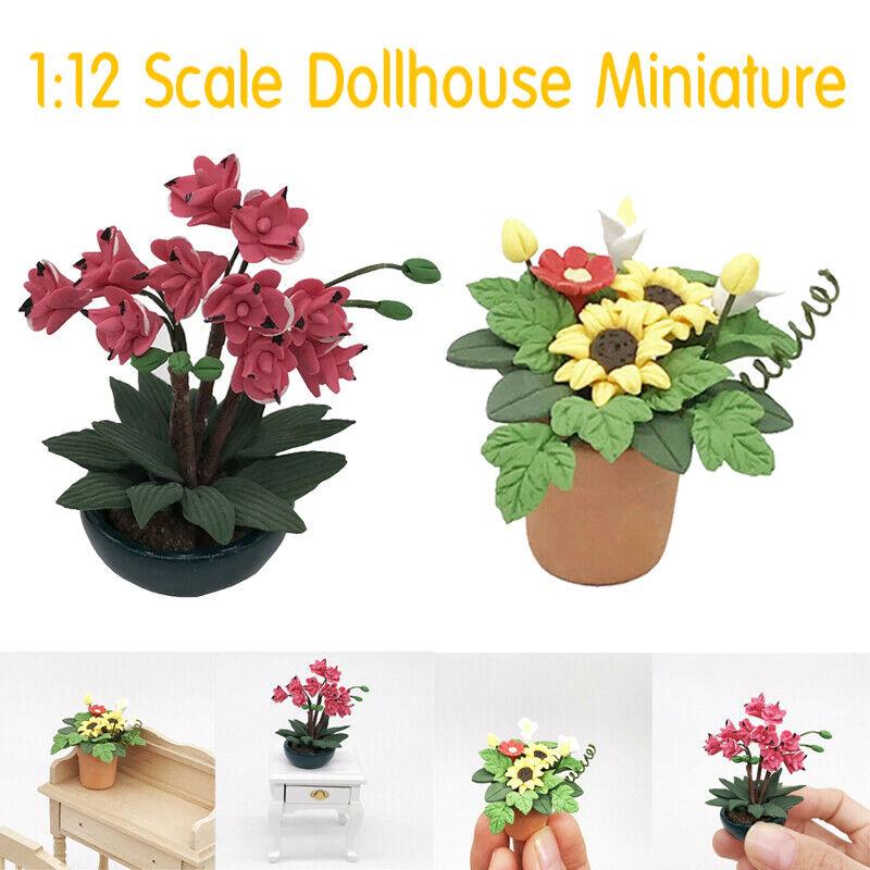 Glass Vase Dolls House Ornament 1 Set 1:12 Dollhouse Miniature Flowers