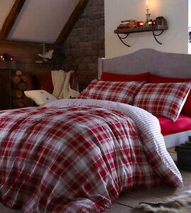 Tartan Red Duvet Set 100 Brushed Cotton Single