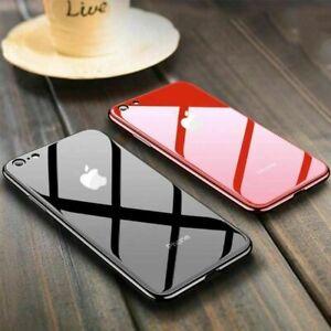 Funda-Para-iphone-X-XR-XS-Max-8-7-6S-Plus-caso-plateado-templado-vidrio-con-Logo